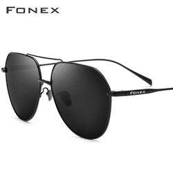 FONEX мужские солнцезащитные очки из чистого титана, фирменный дизайн, квадратные поляризационные солнцезащитные очки для мужчин, 2019, новинка...