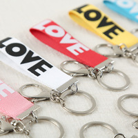 100pcs/lot Men Women Hot Creative Smiley Ribbon Fashion letter LOVE Ribbon Keychain Mobile Phone Hanging Accessories Party Gift