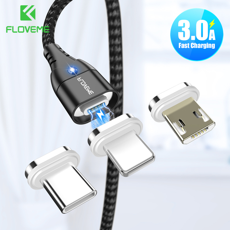 FLOVEME <font><b>3in1</b></font> Magnetic <font><b>USB</b></font> <font><b>Cable</b></font> Micro <font><b>USB</b></font> Type C <font><b>Cable</b></font> For iPhone 11 7 8 XR 3A Quick Charging <font><b>Cable</b></font> <font><b>USB</b></font> C Magnet Charger Cord image