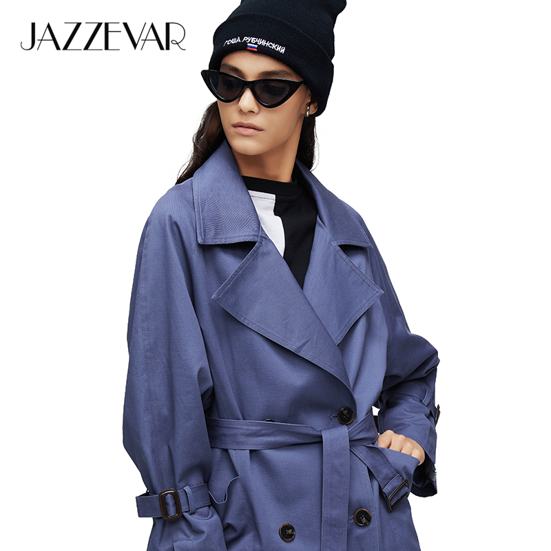 JAZZEVAR 2019 New arrival autumn   trench   coat women oversize double breasted vintage loose clothing womens tops and blouses9008-1