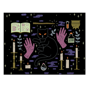 Image 5 - Loartee 魔術ウイジャ猫タペストリーサイキックマジック占星術コミックボヘミアンヒッピー占いホーム壁の装飾毛布