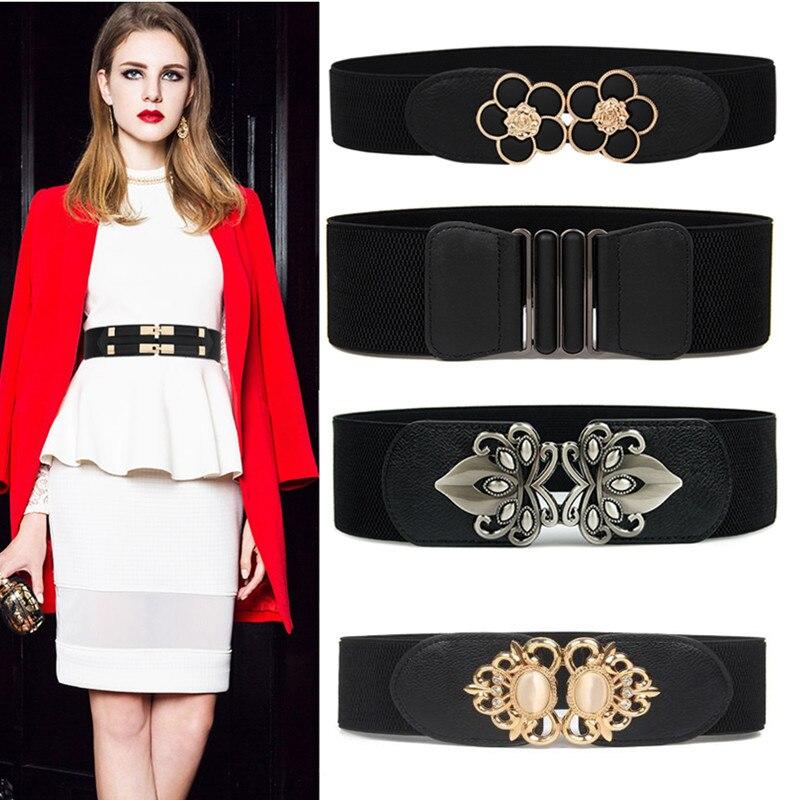 Fashion Waist Belts Plus Long Stretch Cummerbunds Elastic Wide Waistbands Dress Adornment For Women Black Waistband Party Coat