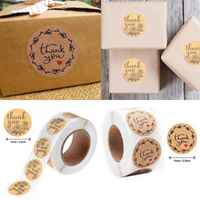 500pcs/roll Thank You Round Sticker Kraft Paper Seal Sticker for Handmade Products Baking Products Sealing Sticker Label 120 pcs lot cute long hand made with love kraft paper seal sticker for handmade products baking products sealing sticker label