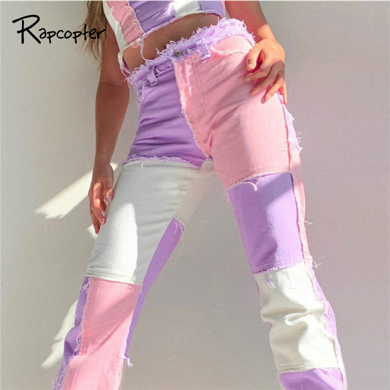 Rapcopter Y2K Jeans Pants Women Patchwork Tassel Sweatpants Pop Pants Autumn New High Waist Pockets Sportwear Harajuku Joggers