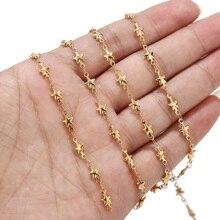 5 metr ręcznie lutowane pozłacane stal nierdzewna stalowy łańcuch z gwiazdą Charms do tworzenia biżuterii DIY bransoletka Choker Anklet