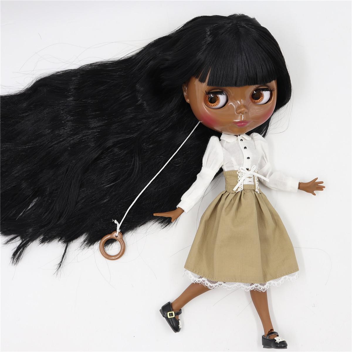 Neo Blythe Doll White Shirt Brown Black Skirt 1