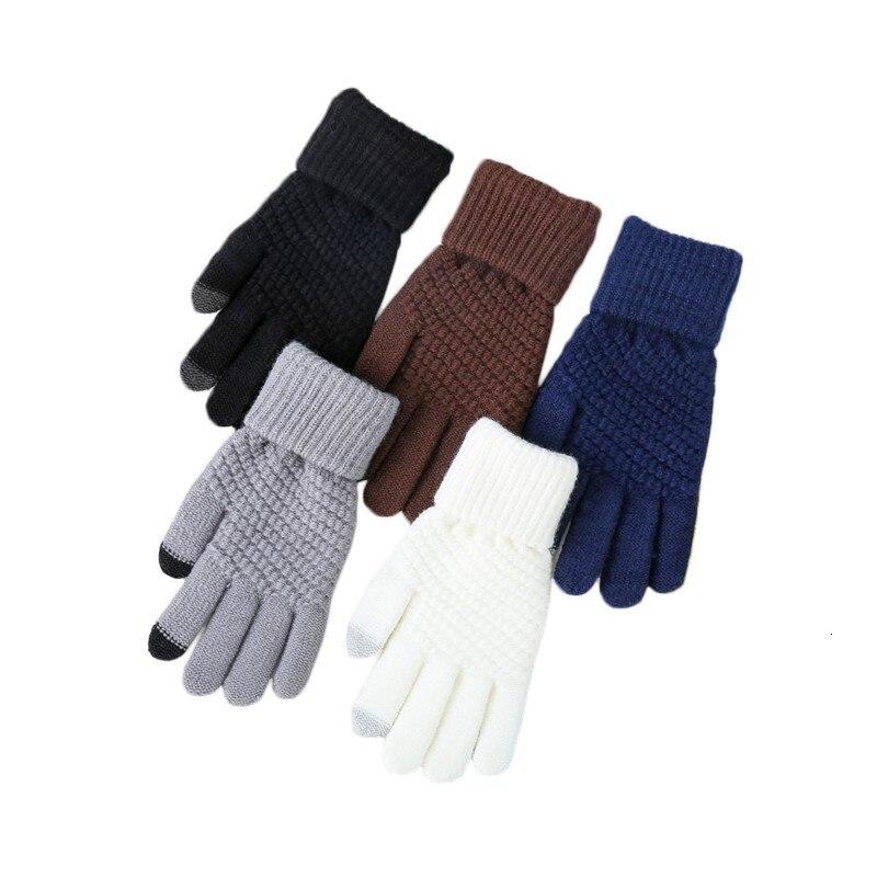 Man Abactinal Touch Screen Glove Knitting Thickening Keep Warm Mobile Phone Glove Hand Warmer Driving Gloves Hot Handschoenen