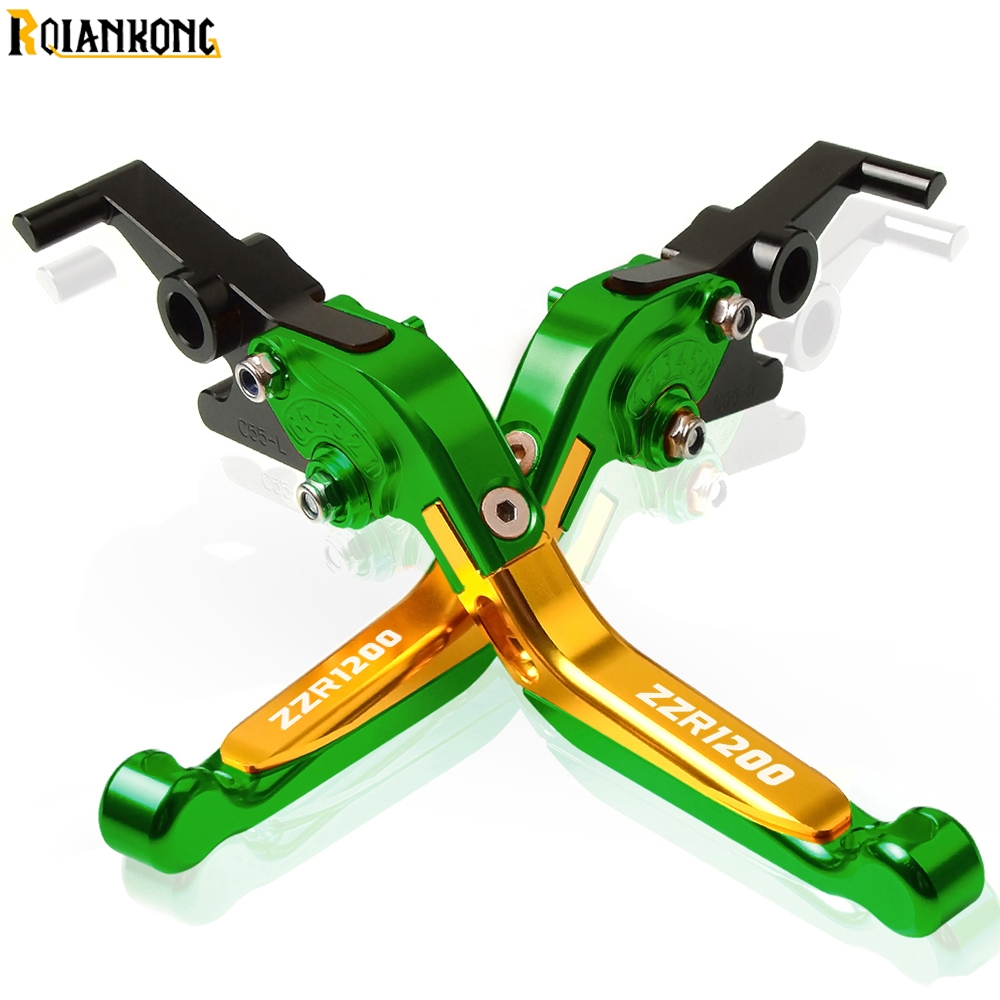 For KAWASAKI ZZR1200 ZZ R1200 2002 2003 2004 2005 2002 2005 ZZR1200 Motorcycle CNC Adjustable Brake Clutch Levers handle in Covers Ornamental Mouldings from Automobiles Motorcycles