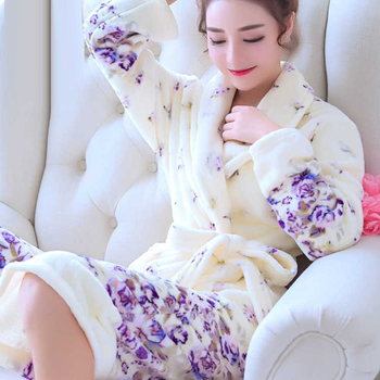 Women Pajama 2019 Autumn Winter Pajamas Flannel Thick Warm Ladies Robes Women Sleepwear Elegant Female Homewear