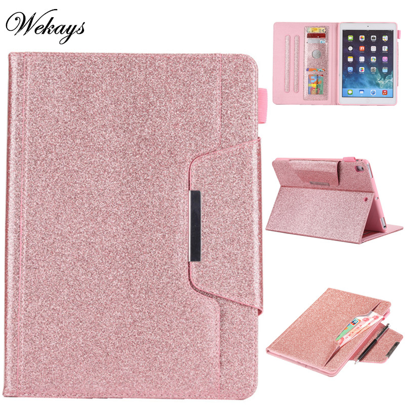 Wekays For Apple New Ipad 9.7 2018 Glitter Bling Leather Fundas Case For Coque Ipad 9.7 inch 2017 A1822 A1823 Tablet Cover Cases