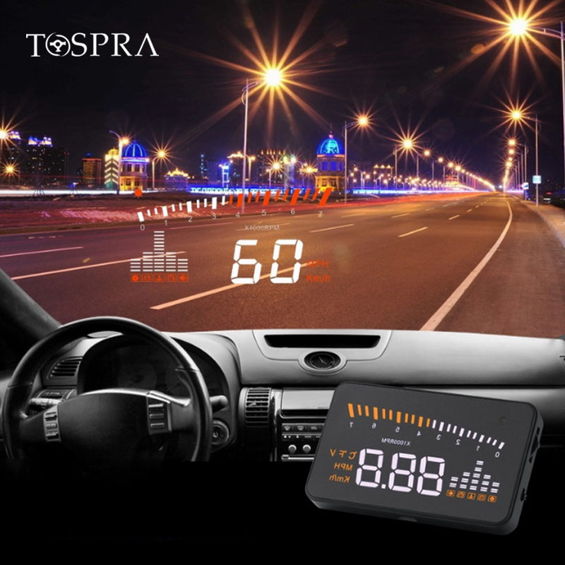 1pc Hud Car Universal Head Up Display Speedometer Temperature Water Projection Speed Warning Fuel On Windshield For Car Hud
