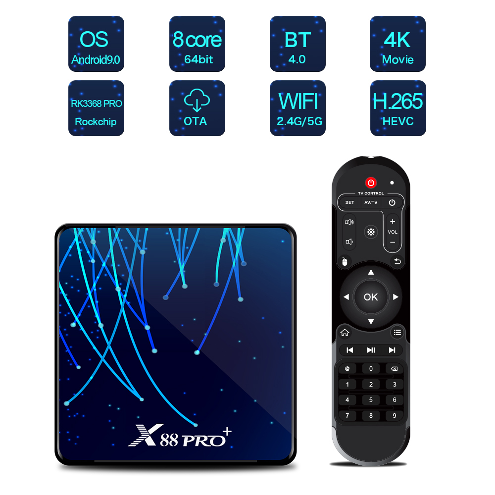 X88 PRO Plus <font><b>Octa</b></font> <font><b>Core</b></font> <font><b>Android</b></font> 9.0 <font><b>TV</b></font> Box 4GB 128GB Rockchip RK3368PRO 1080p 4K Google Stimme assistent Netflix 32GB Set top Box image