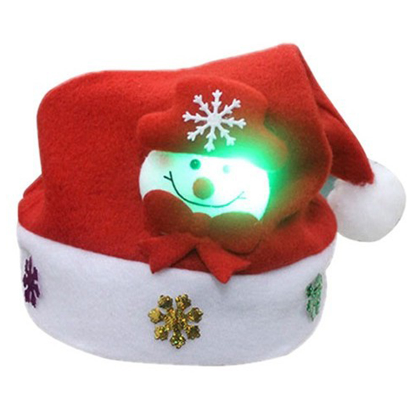 Snowman Pattern With LED Lights Children Hat Cap Christmas Hat 30 * 25cm