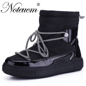 Female winter White warm short Ankle snow boot with Fake fur Wedge waterproof quilted shoe women 2019 girl Platform botte Space(China)