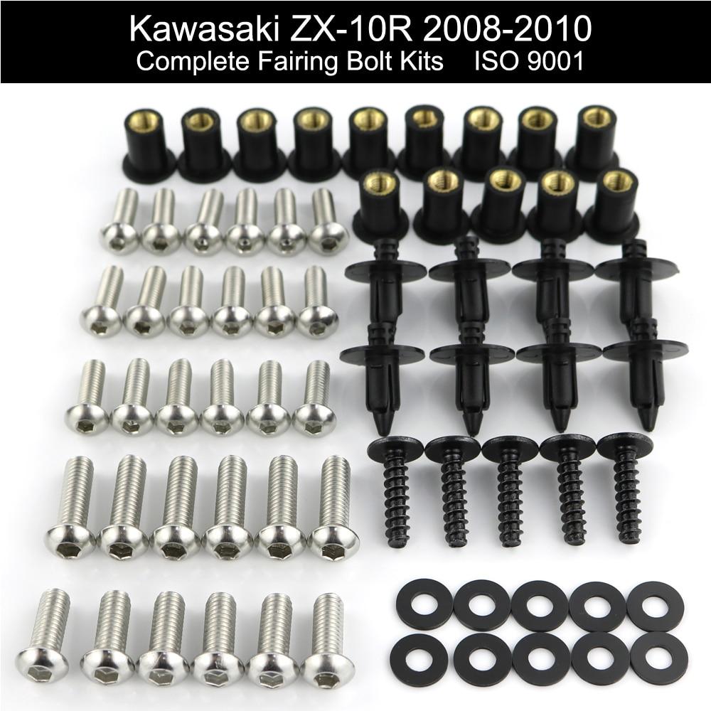 Black Fairing Bolt Kit Screws Fasteners for Kawasaki ZX-10R 2006-2007
