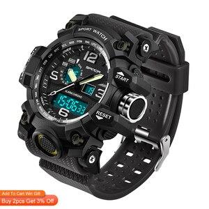 Image 2 - SANDA 742 Military herren Uhren Top Brand Luxus Wasserdichte Sport Uhr Männer S Shock Quarz Uhren Uhr Relogio Masculino 2019