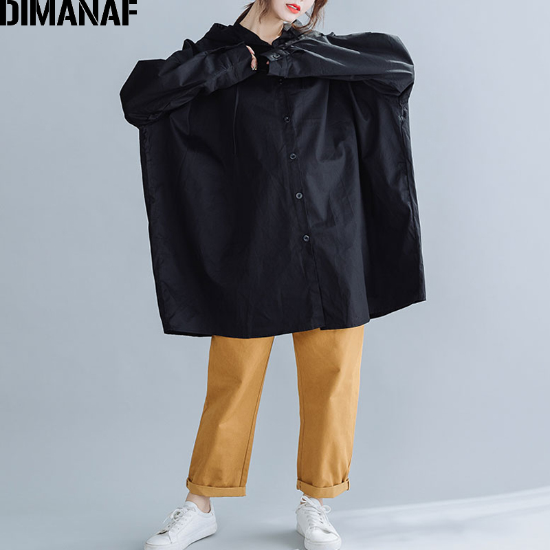 DIMANAF Plus Size Women Jackets Coats Autumn Oversized Loose Female Lady Outerwear Basic Casual Clothes Hooded Black Fit 100KG