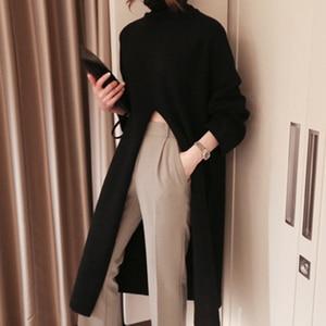 Image 2 - Deuxtwinstyle fendu noir pull femmes à manches longues col roulé hauts tricotés femme vêtements coréen 2020 hiver nouveau