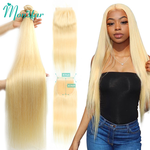 Monstar 613 Blonde Bundle with 4x4 Lace Closure Peruvian Straight Remy Human Hair 28 30 32 34 36 Inch 3 Bundles with 613 Closure