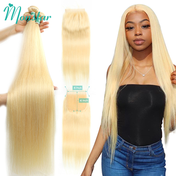 Monstar 613 Blonde Bundle with 5x5 Lace Closure Peruvian Straight Remy Human Hair 28 30 32 34 36 Inch 3 Bundles with 613 Closure