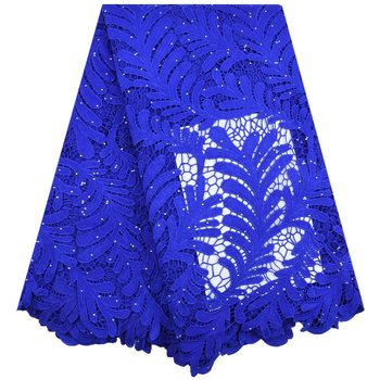 Blue High Quality African Tulle Guipure Cord Lace Fabric Latest Nigerian French Cord Lace Fabric With Stones For Dress S1743