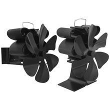 Black Fireplace Fan 6 Blade Wood Burner Eco Fan Heat Powered Efficient Hanging Fireplace Fan Home Efficient Heat Distribut
