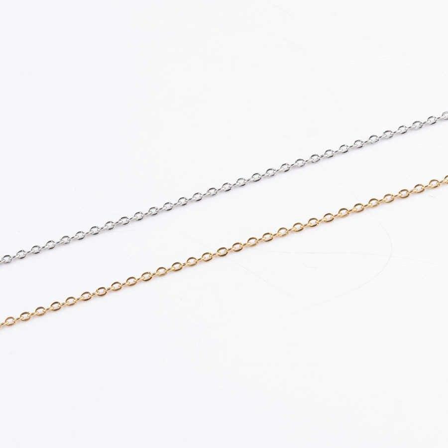 10 قطعة/الوحدة 316L الفولاذ المقاوم للصدأ 45 سنتيمتر طول 1.5 مللي متر 2 مللي متر الصليب ربط سلسلة قلادة صالح DIY بها بنفسك قلادة قلادة صنع المجوهرات النتائج