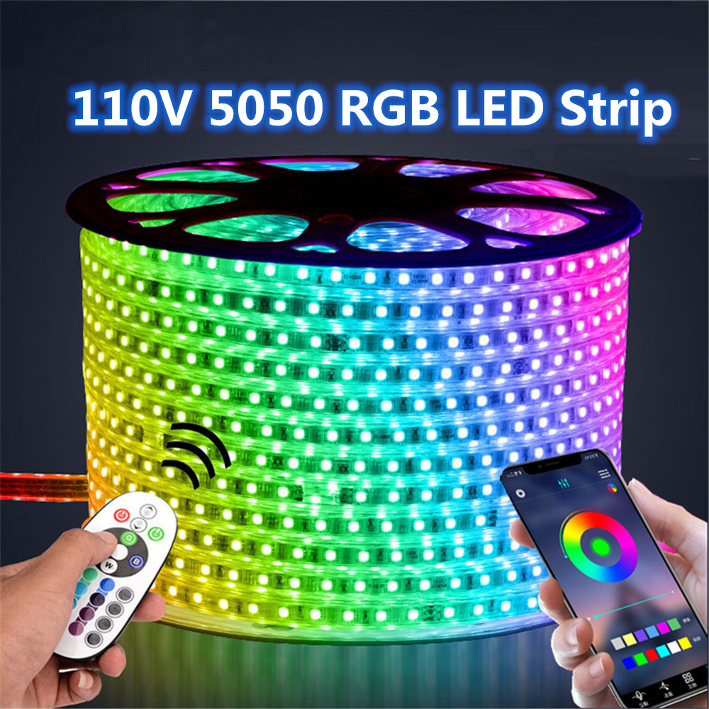 110V LED Strip Light RGB Waterproof Tape AC110V flexible neon lights Outdoor Decor lamp Phone APP and Remote control 1M 5M 10M