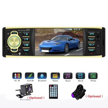 TOSPRA 4.1 inç 1 Din araba radyo ses Stereo AUX FM radyo istasyonu Bluetooth Autoradio destek dikiz kamera uzaktan kumanda