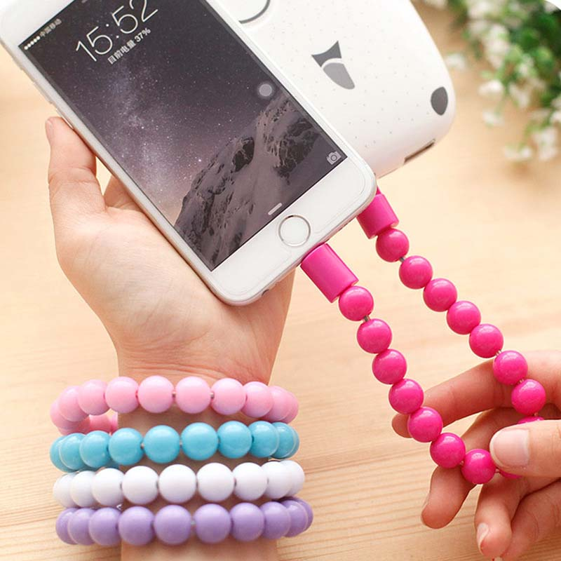 Micro USB Cable Beads Bracelet Charging Sync Data Phone Charger Cable for Samsung xiaomi huawei HTC Mobile Phone Bead Band Cable