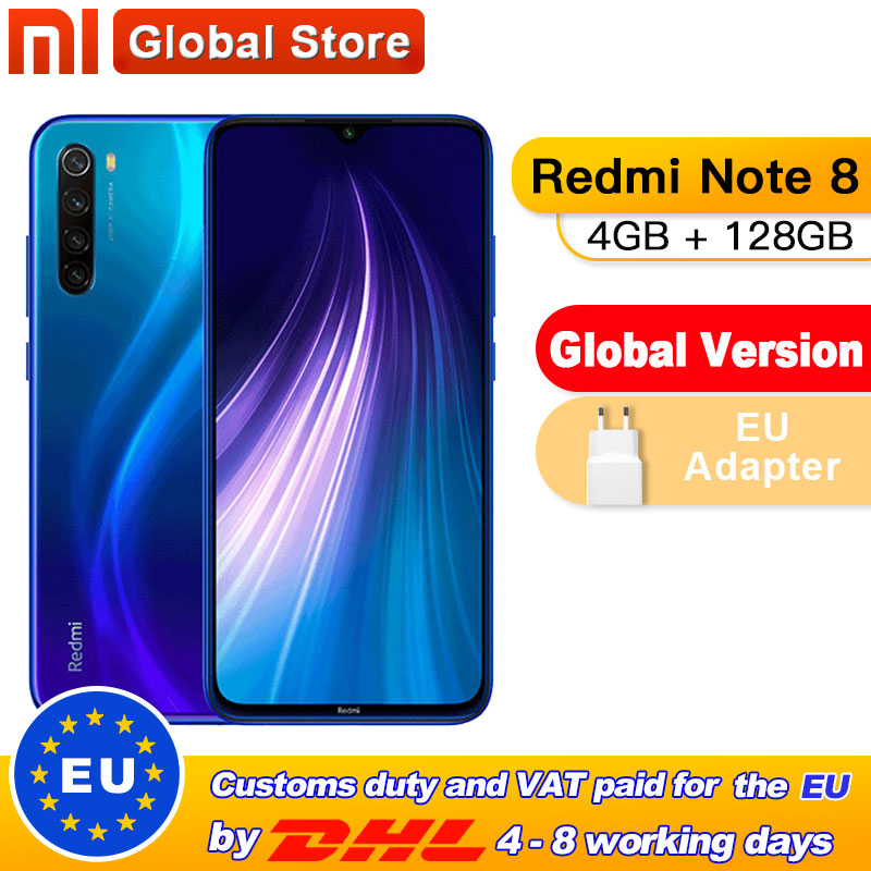 "Global Version Xiaomi Redmi Note 8 4GB 128GB Snapdragon 665 Octa Core Smartphone 6.3"" 48MP Quad Rear Camera 4000mAh Supports 18W"