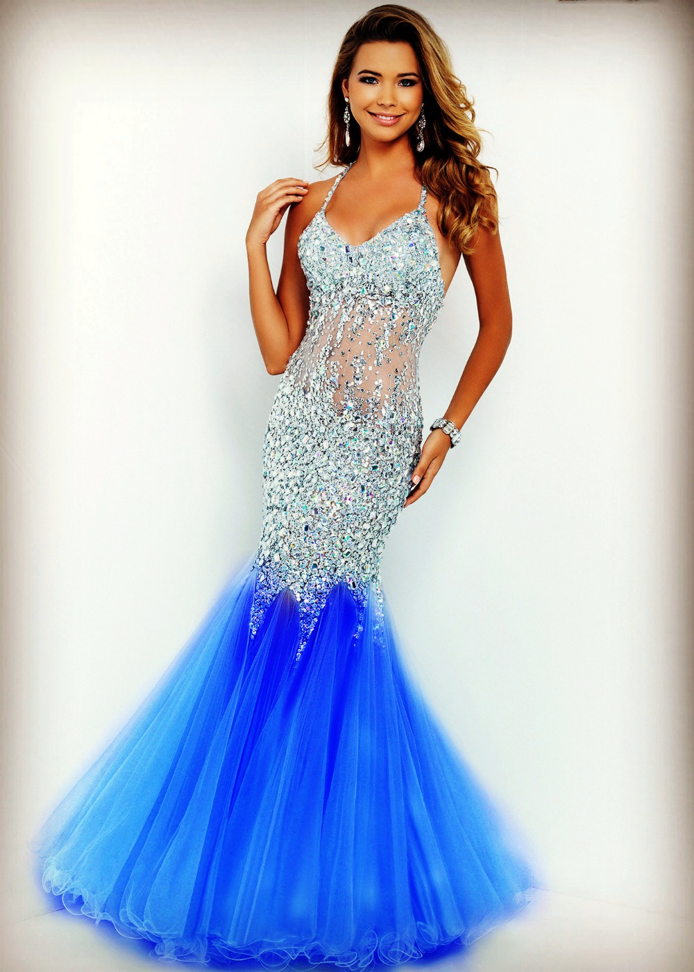 Fast Shipping In Stock Sexy Prom Gowns Backless Sweetheart Handmade Beading Crystal Blue Tulle Mermaid Evening Dresses