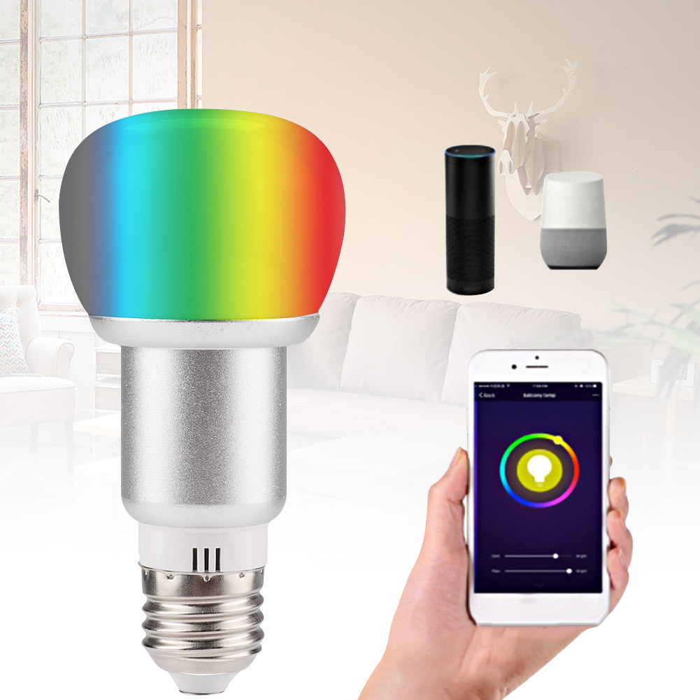 2019 HOT E27 Wireless Smart WiFi Light Bulb 10W RGB Dimmable Colorful Voice Control Lamp AC85-265V S7 #5