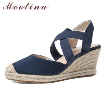 Meotina Espadrille Wedge High Heels Pumps Slingbacks Women Shoes Kid Suede Round Toe Footwear Lady Summer Causal Shoes Apricot