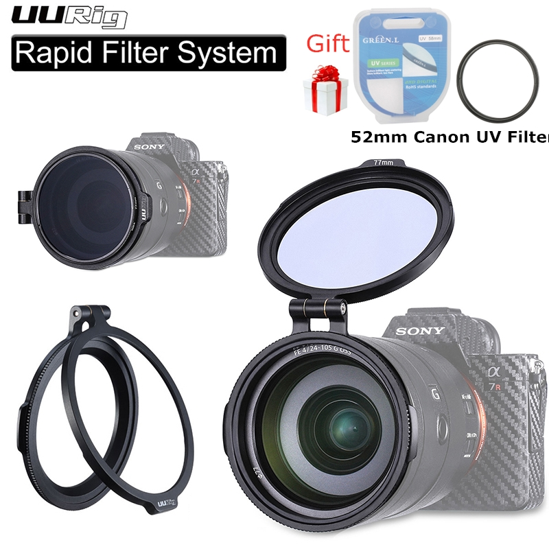 UURig RFS ND Filter Quick Release Bracket Ring Camera Accessory Quick Switch DSLR Lens Adapter Flip Clip for 67mm 72mm 77mm