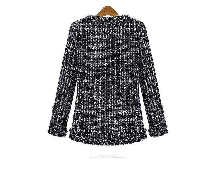 Autumn Winter Coat Women 2019 Plus Size Elegant Long Sleeve Plaid Jackets Female Vintage Oversize Tassel Tweed Wool Blends Black 55