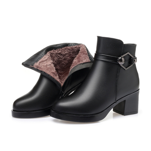 Image 2 - GKTINOO Winter Shoes Womens Genuine Leather Ankle Boots Wool Warm Woman Snow Boots Big Size High Heels Ladies Shoes