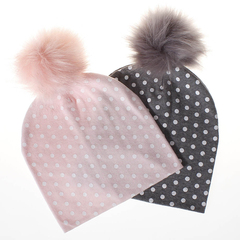 Winter Hats Baby 6-Months-3-Years-Old Boys Hair-Ball-Hat Raccoon Knit Autumn Girls Cotton