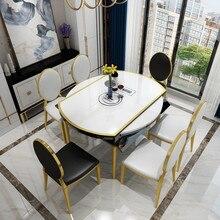 Легкая Роскошная круглая скатерть для обеденного стола, Современная Минималистичная Бытовая маленькая квартира, выдвижной обеденный стол и стул