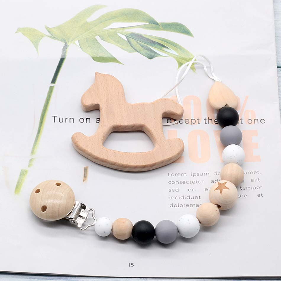 Silicone Beech Wood Chewing Beads Pacifier Clips Chain Dummy Clip Wooden Cartoon Animal Pendant Baby Teething Molar Teether Toys