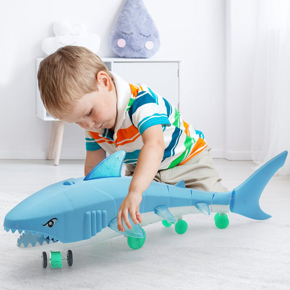 Kids Shark Glow Toy Leash Electric Light Music LED Toys Drawstring Electric Glow Shark Leash Lighting Plastic Toy