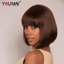 Kolorowe peruki z ludzkich włosów fryzura Pixie peruka z grzywką krótki Bob brazylijski 100% ludzki włos peruka dla czarnych kobiet pełna maszyna możesz