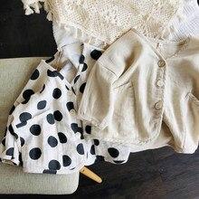 Algodão e linho cardigan 2020 primavera e verão coreano das crianças solto polka dot casaco de cor sólida jaqueta de bebê