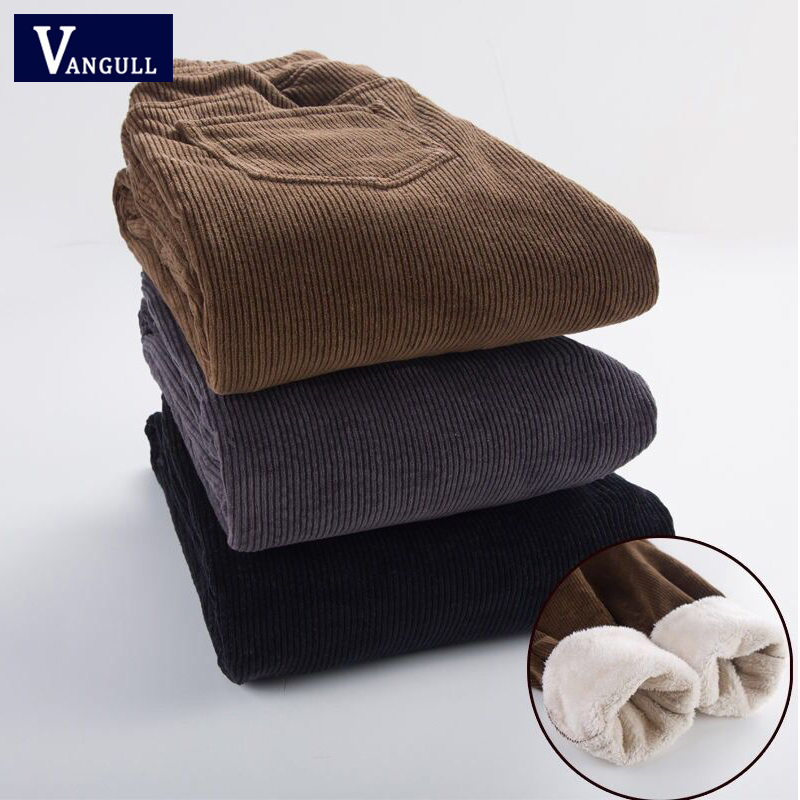 Vangull Winter Velvet Corduroy Pants Casual Solid High Waist Harem Pants New Elastic Waist Loose Plus Size Female Long Pants