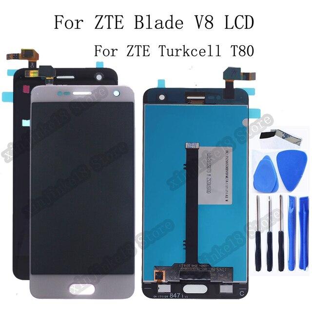 Zte 블레이드 v8 lcd 디스플레이 + 터치 스크린 디지타이저 어셈블리 교체 용 zte turkcell t80 bv0800 디스플레이 수리 키트