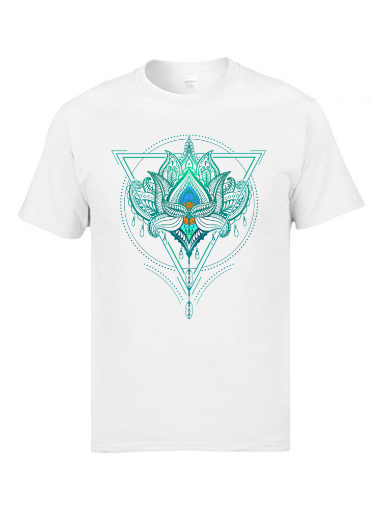Tyburn ZEN Buddhism T Shirts Triangle Lotus Flower <font><b>OM</b></font> <font><b>Tshirts</b></font> Indian Buddhist Dhyana Good Quality Clothing Shirts Pure Cotton image