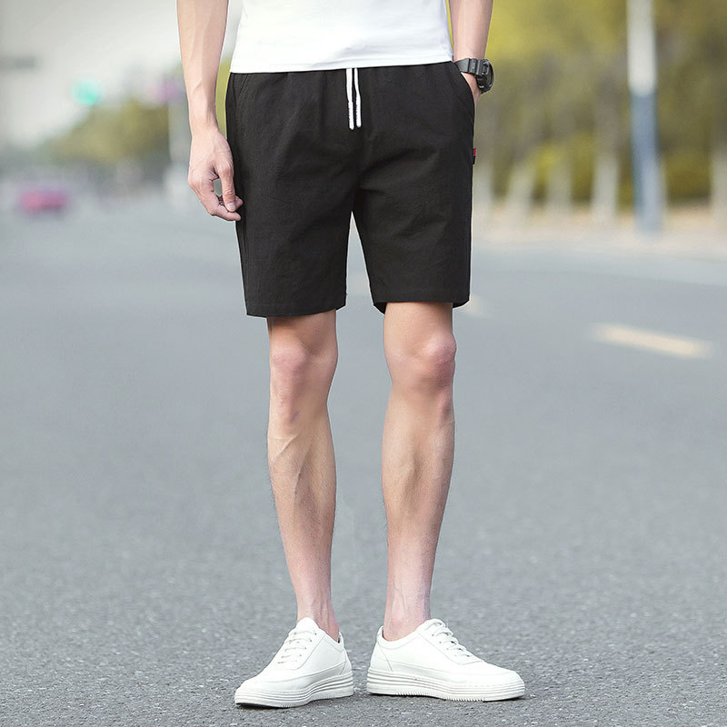 2019 Summer New Style Men's Casual Shorts Shorts Pure Cotton Solid Color Beach Shorts Athletic Pants