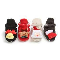 Осенне-зимняя обувь для маленьких мальчиков и девочек милые теплые Носки с рисунком Санта-Клауса в рождественском стиле с маленькими