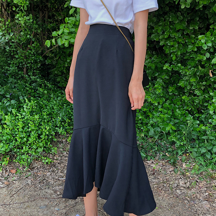 Mozuleva New 2020 Spring Summer Women Skirts High Elastic Waist Vintage Elegant Trumpet Female Fashionable Pleated Midi Skirt