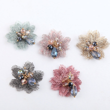 2 pcs 2019 vintage embroidery crystal beads patch brooch flower drop earrings hairpin hair accessories diy jewelry making
